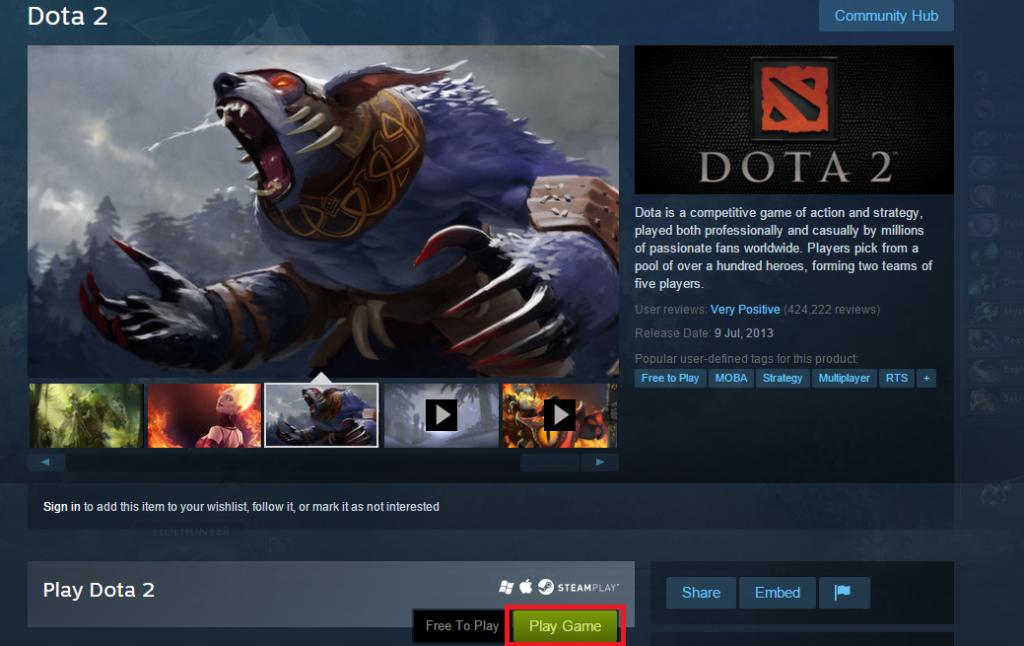 DOTA 2 di Steam