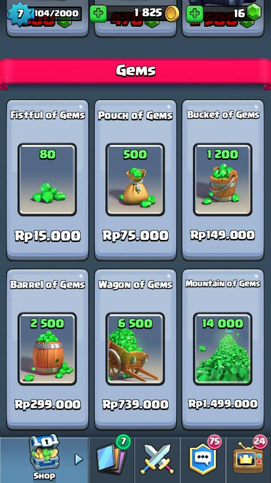 harga gems clash royale